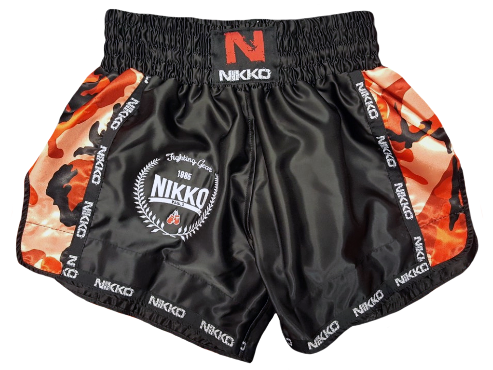 Nikko Kickboksbroek Camouflage Zwart - Rood